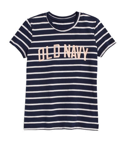 old navy kids navy stripe short-sleeve graphic tee