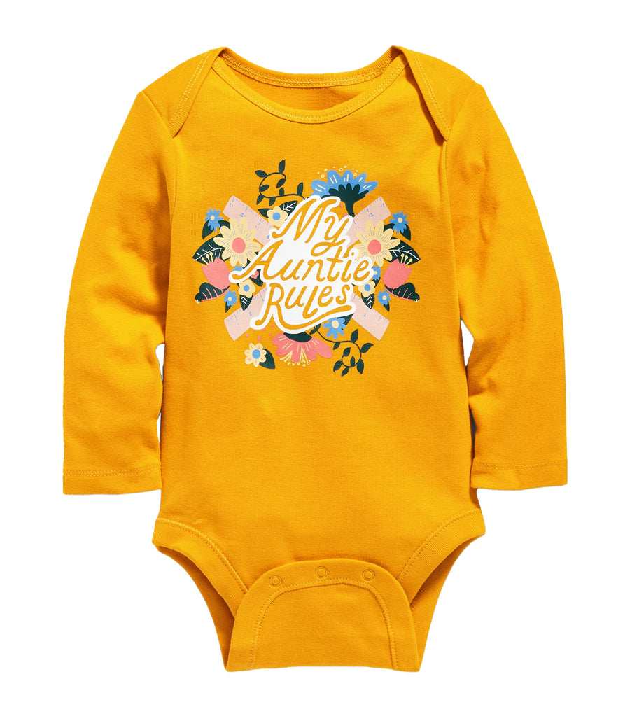 old navy toddler my auntie rules graphic long-sleeve bodysuit