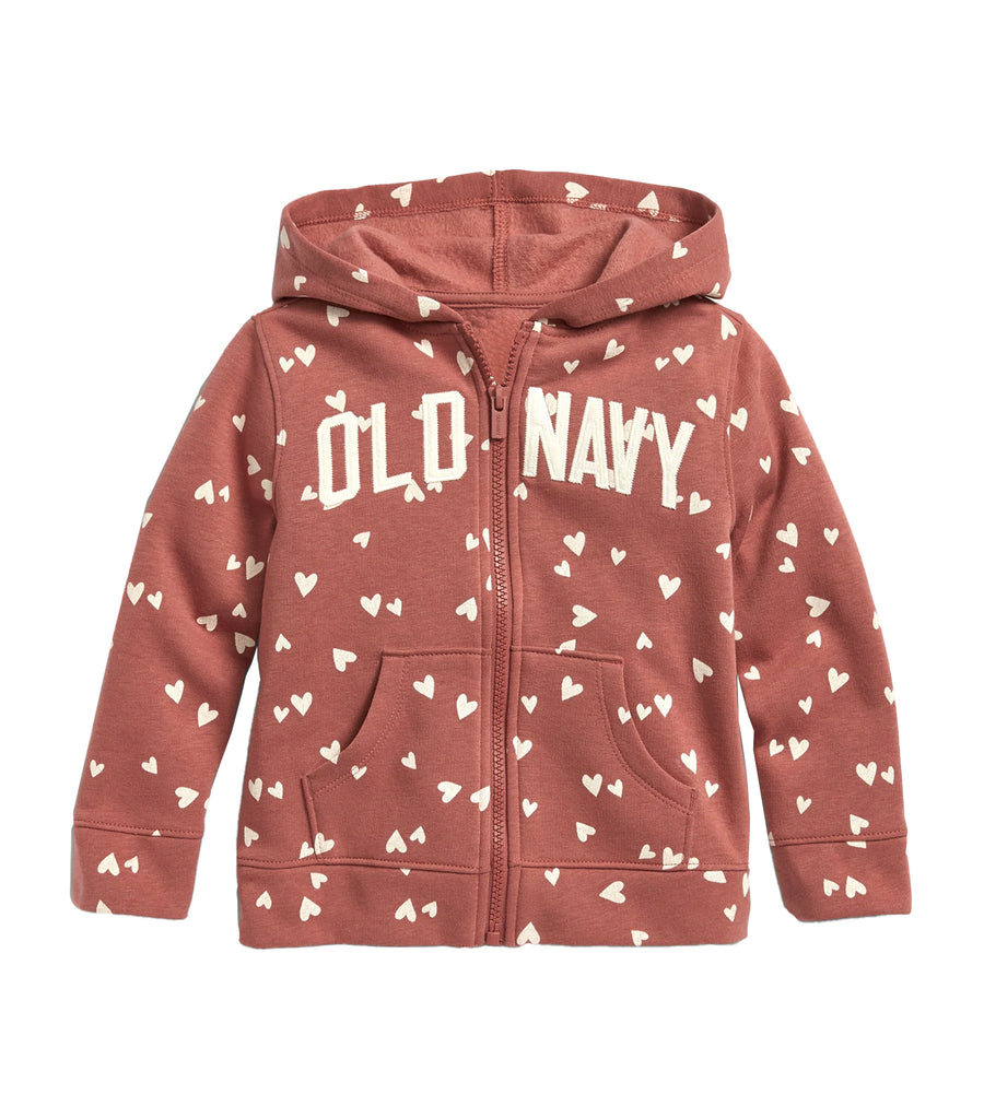 old navy toddler pink hearts logo-graphic zip hoodie