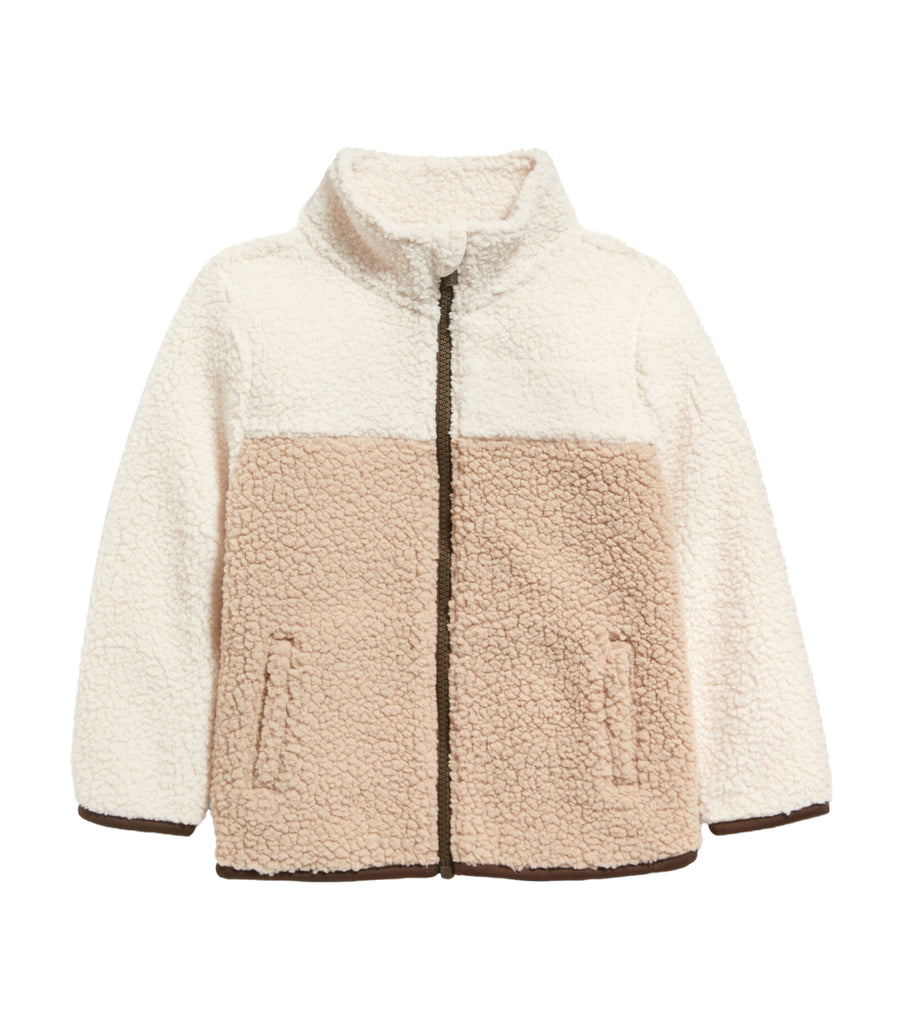 old navy toddler oatmeal colorblock unisex mock-neck sherpa zip jacket