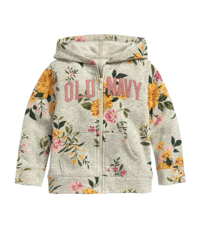 old navy toddler heather gray floral print logo-graphic zip hoodie
