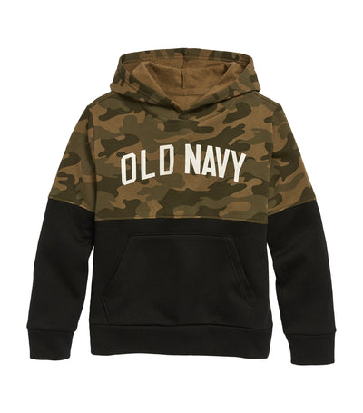 old navy kids olive camo/black logo-graphic color-blocked pullover