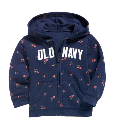 old navy toddler logo-graphic floral zip hoodie