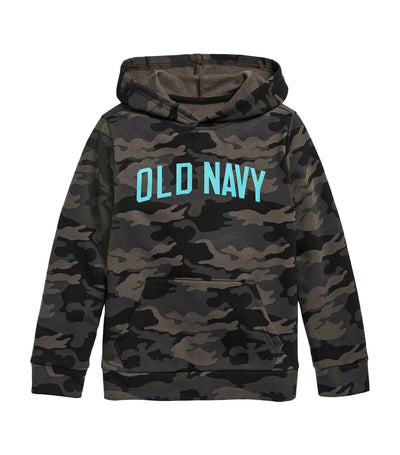 old navy kids black camo logo-graphic pullover hoodie