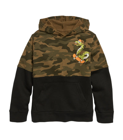 old navy kids camo/snake graphic color-blocked pullover hoodie