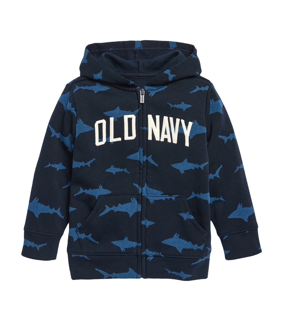 old navy toddler blue sharks logo-graphic zip hoodie