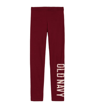 old navy kids crimson cranberry logo-graphic built-in tough full-length leggings