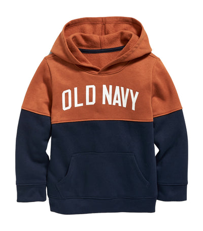 old navy toddler in the navy logo-graphic color-blocked pullover hoodie