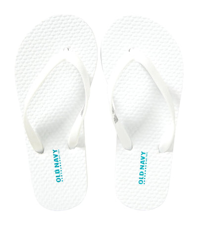 old navy kids bright white classic flip-flops