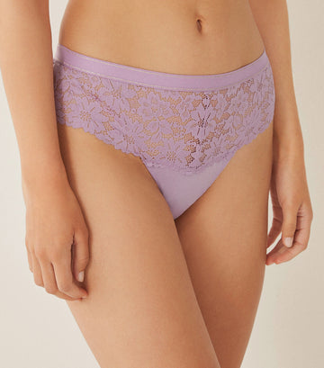 Wide Brazilian Lace Panty Purple