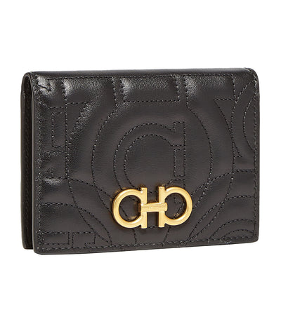 Quilted Gancini Credit Card Holder Black
