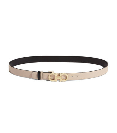 Reversible and Adjustable Gancini Belt Macadamia/Black