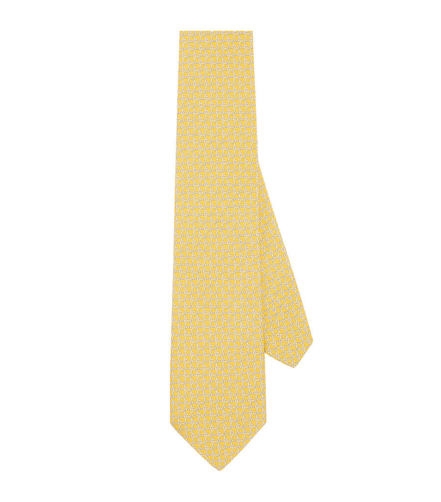 Gancini Print Silk Tie Yellow