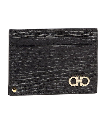 Gancini Card Holder with Pull-Out ID Window Black