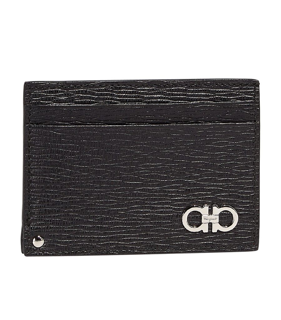 Gancini Card Holder with Pull-Out ID Window Black/Ferragamo Red