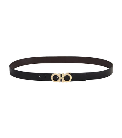 Reversible and Adjustable Gancini Belt Black/Hikory