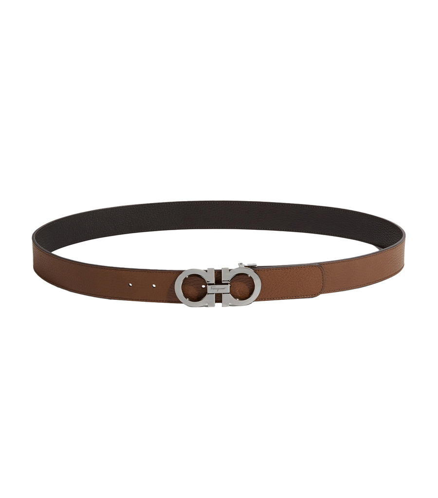 Reversible and Adjustable Gancini Belt Cane Sugar Brown/Black