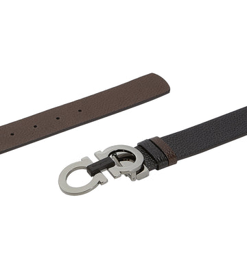 Reversible and Adjustable Gancini Belt Black/Hickory