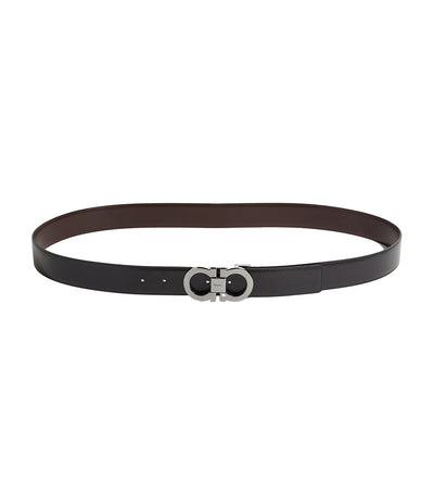 Reversible and Adjustable Gancini Belt Black/Auburn