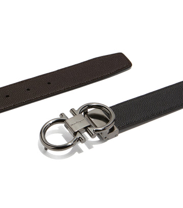 Reversible and Adjustable Gancini Belt Black/Chocolate