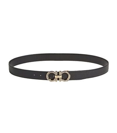 Reversible and Adjustable Gancini Belt Dark chocolate/Black