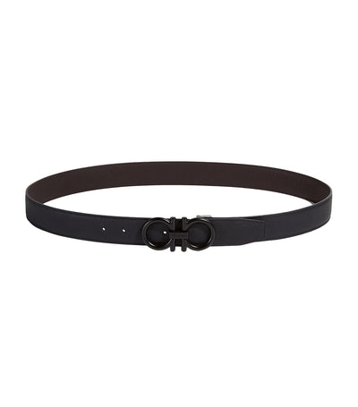 Reversible and Adjustable Gancini Belt Black/Dark Brown