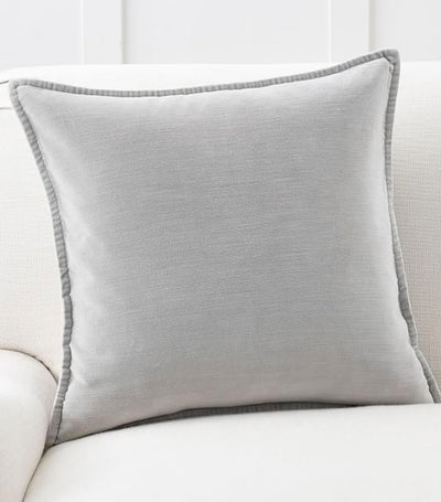 Pottery Barn Washed Velvet Pillow Cover - Alloy Gray