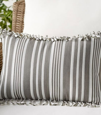 Pottery Barn Melilla Fringe Lumbar Indoor/Outdoor Pillow - Gray