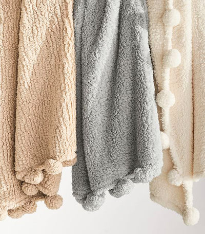 Pottery Barn Cozy Pom-Pom Sherpa Throw
