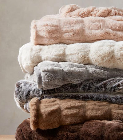 Pottery Barn Faux Fur Ruched Throw
