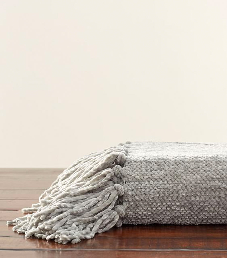 Pottery Barn Chenille Hand-Knotted Fringe Throw