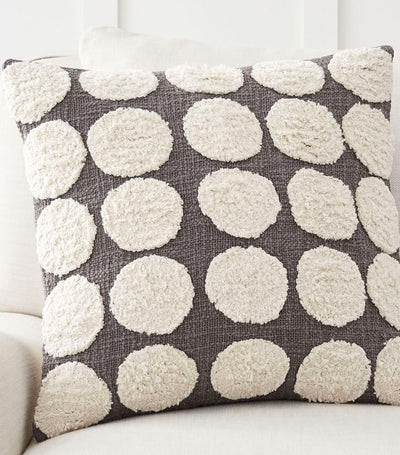 Pottery Barn Gray Hand Tufted Dot Textured Pillow Cover