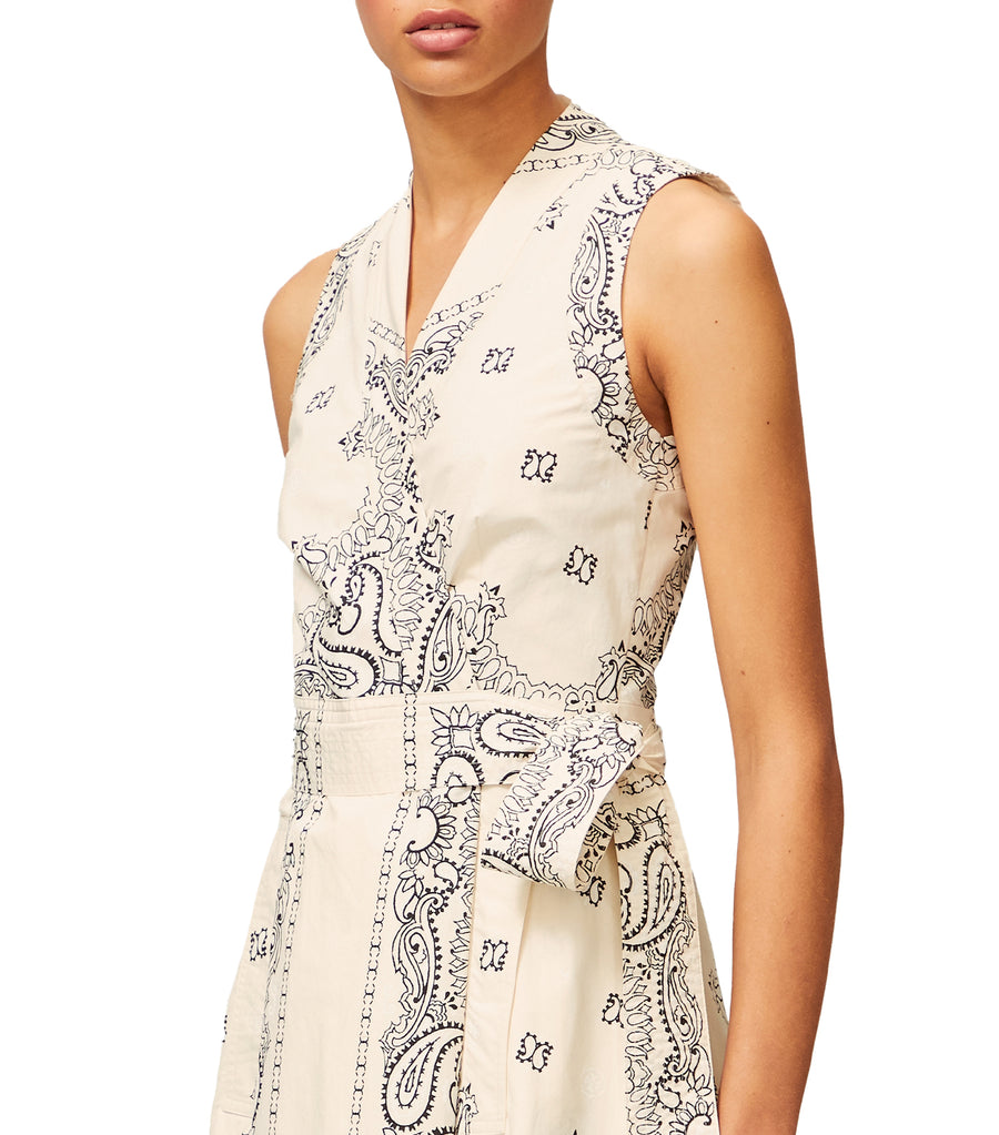 Printed Poplin Wrap Dress Ivory Americana Bandana