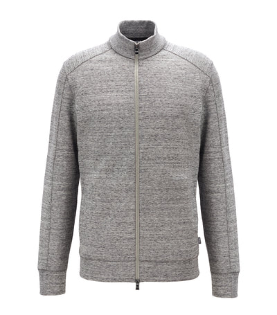 Zip-Through Sweatshirt In A Mouliné Cotton Blend Silver
