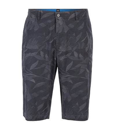 Lightweight Shorts In Camouflage-Printed Paper-Touch Stretch Cotton Dark Blue