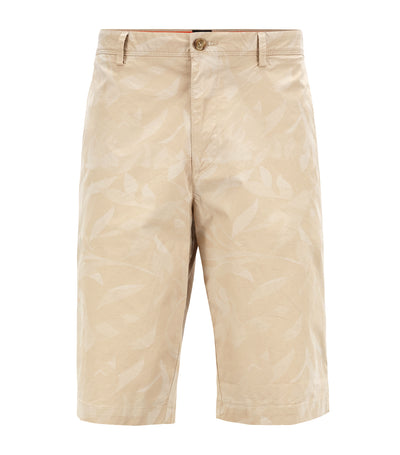 Lightweight Shorts In Camouflage-Printed Paper-Touch Stretch Cotton Light Beige