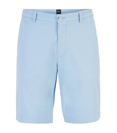 Lightweight Shorts in Italian Stretch Cotton with Overdyed Finish Light Blue