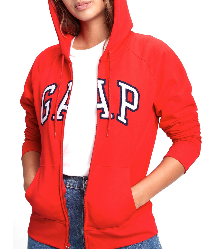 Logo Zip Hoodie in Fleece Pure Red