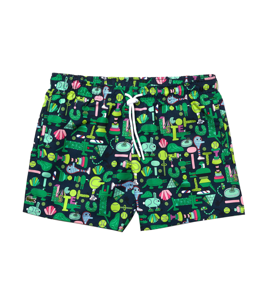 Unisex Lacoste X Jeremyville Light Print Swim Shorts Navy Blue/Multico