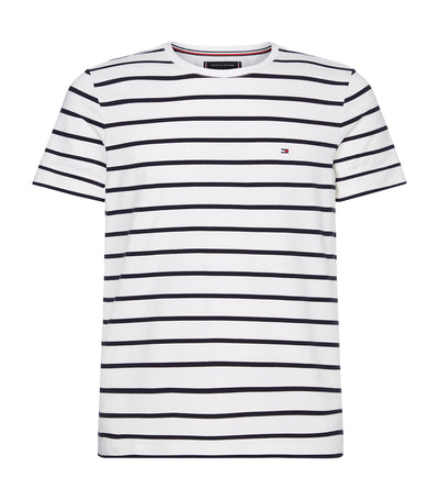 Organic Cotton Stripe Slim Fit T-Shirt White/Desert Sky