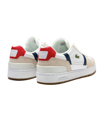 Women's T-Clip 0120 2 Leather And Suede Sneakers White-Navy-Red