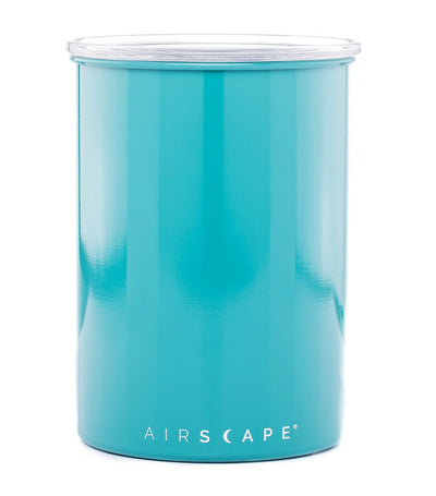 "airscape® stainless steel coffee and food storage canister - 7"" turquoise"