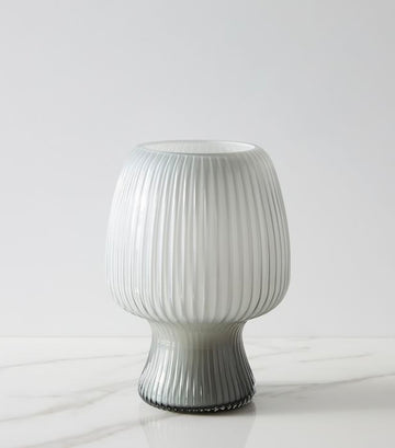 west elm Caned Glass Hurricane Vase
