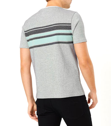 Pure Cotton Chest Stripe Knitted T-Shirt White Mix
