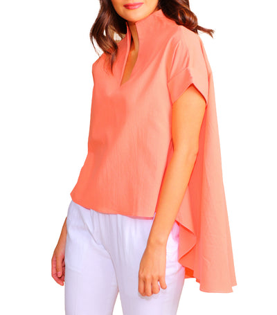 Adley Short Sleeve Continuous Collar With High-Low Hem Orange