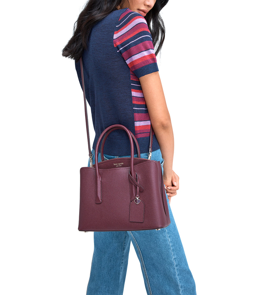 Margaux Medium Satchel Deep Cherry