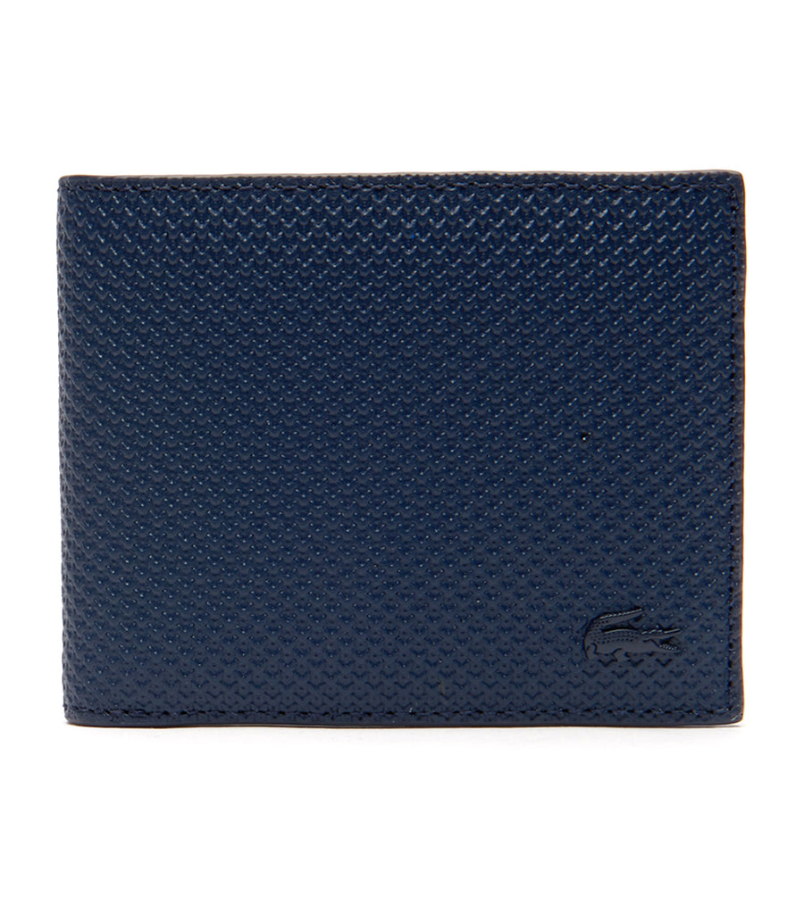 lacoste men's chantaco leather card wallet - marine 166