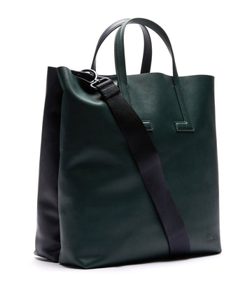 lacoste women's duo colorblock tote bag with fabric strap - sinople flag