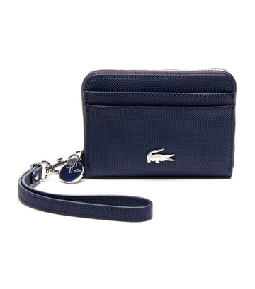 lacoste daily classic small coated canvas wallet - marine 166