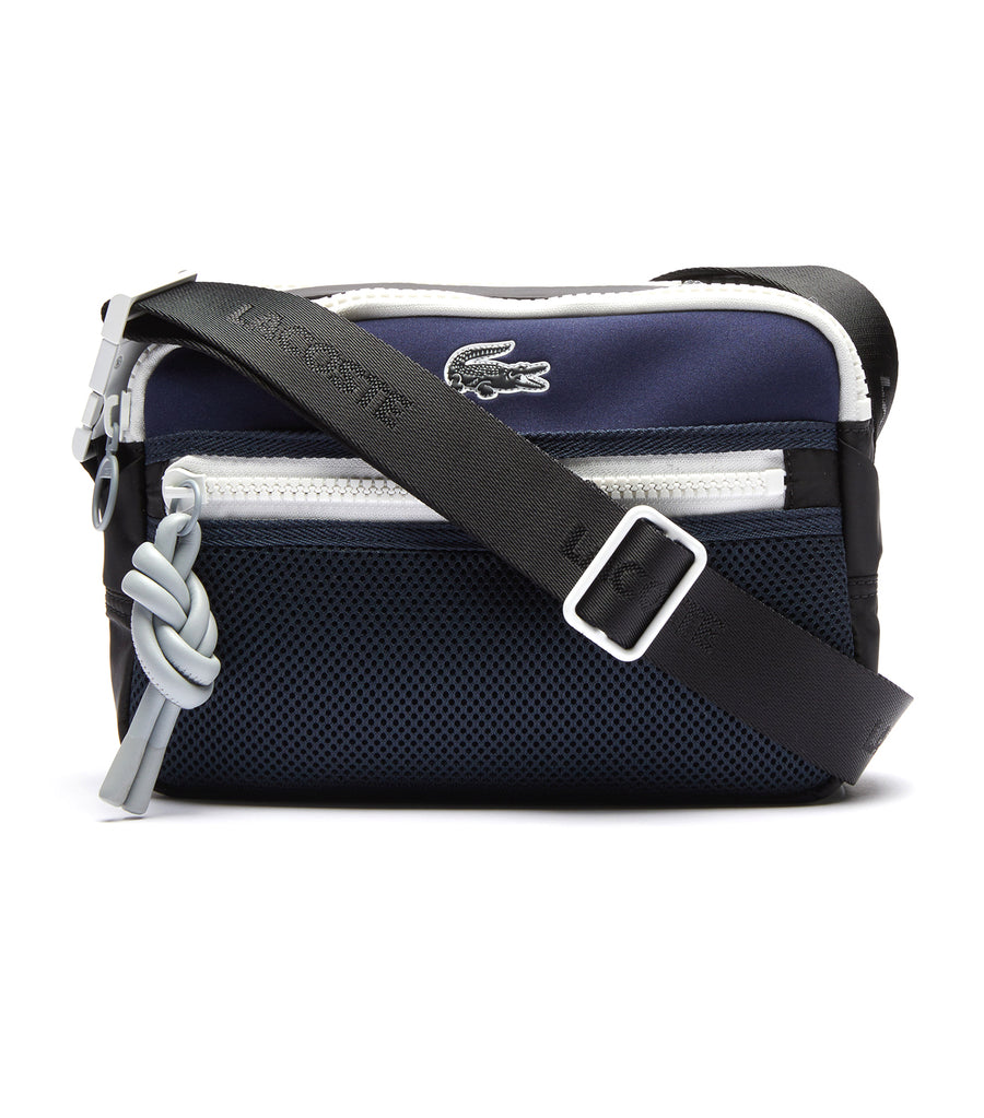 lacoste men's motion ultra-light reporter bag - noir eclipse blanc